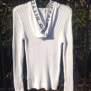 David bitton. Cream lightweight ribbed sweater